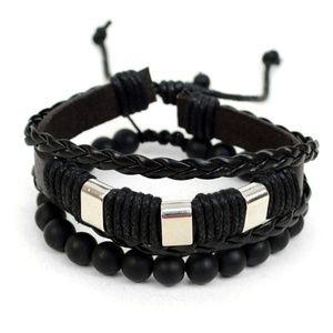 Genuine Leather & Natural Stone Two Pieces Bracele